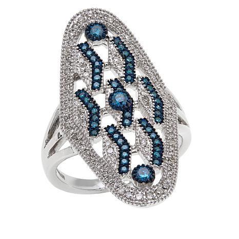 Rarities .5ctw White & Blue Diamond Chevron-Design Ring