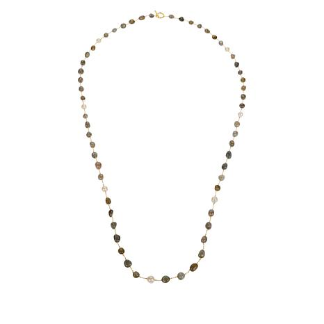 "Rarities 60"" Cultured Keshi Pearl and Gemstone Link Necklace"