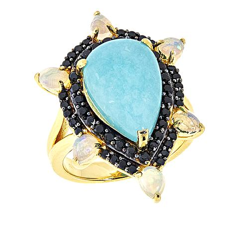 Rarities Amazonite, Ethiopian Opal and Black Spinel Pear-Shaped Ring
