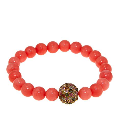 """Rarities Bamboo Coral and Tourmaline Beaded Stretch 6-1/2"""" Bracelet"""