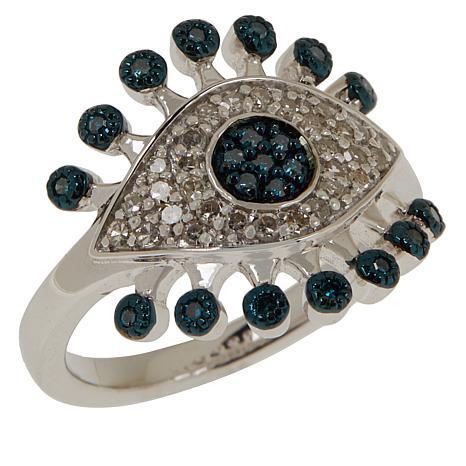 Rarities Blue and White Diamond Evil Eye Ring