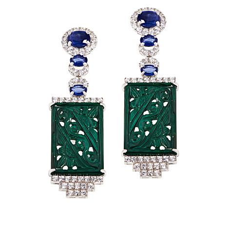 Rarities Carved Malachite, Kyanite and White Zircon Drop Earrings
