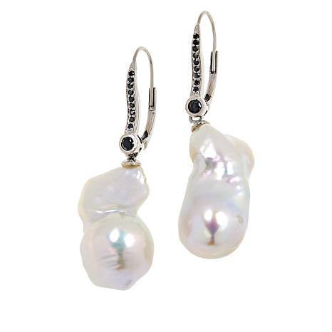Rarities Cultured Freshwater Pearl and Black Spinel Drop Earrings