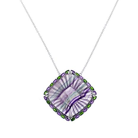 Rarities Fluorite, Chrome Diopside and Amethyst Drop Necklace