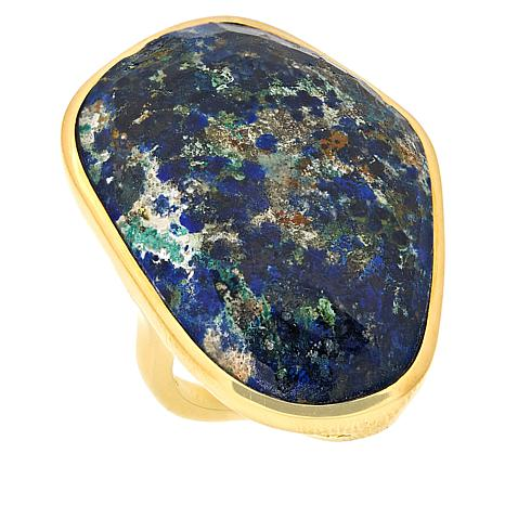 Rarities Gold-Plated Azurite Malachite Freeform Ring