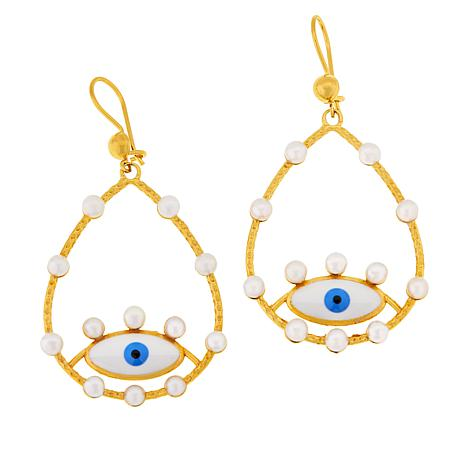 """Rarities Gold-Plated Cultured Pearl """"Lucky Eye"""" Drop Earrings"""