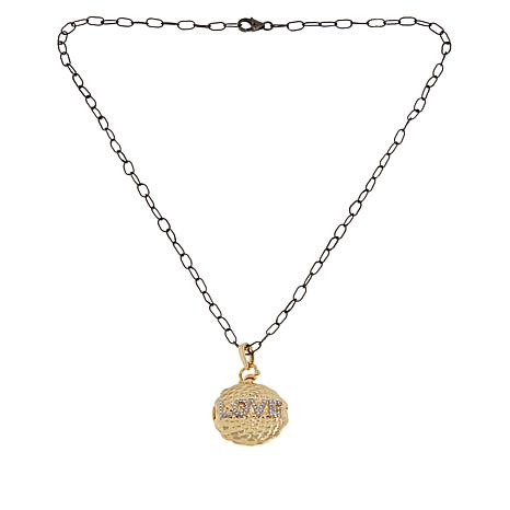"""Rarities Gold-Plated Gemstone Evil Eye/Love Locket and 18"""" Cable Chain"""