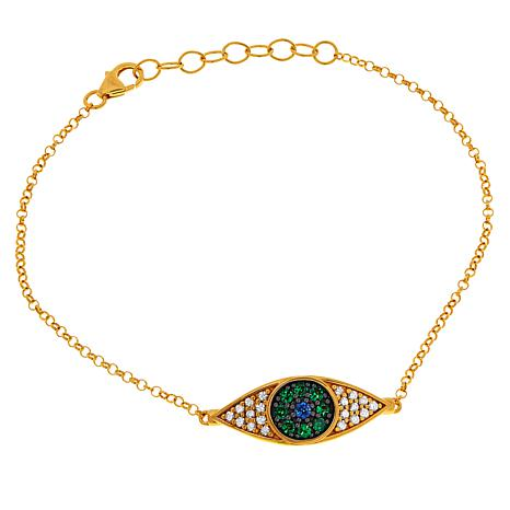 Rarities Gold-Plated Multi-Gemstone Evil Eye Bracelet