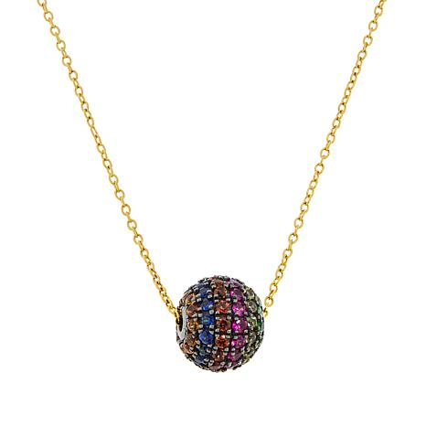 Rarities Gold-Plated Multi-Gemstone Rainbow Glitter Ball Necklace