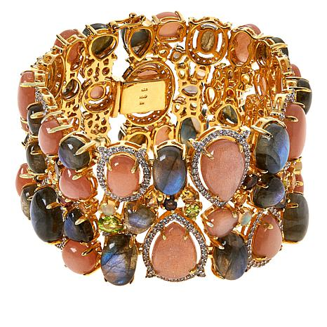 Rarities Gold-Plated Peach Moonstone and Multi-Gem Cluster Bracelet
