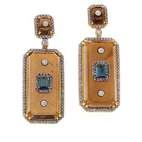 Rarities Gold-Plated Smoky Quartz and Multi-Gemstone Drop Earrings