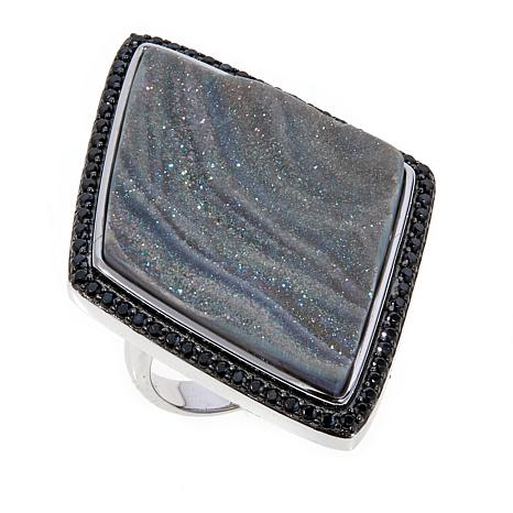 Rarities Gray Drusy and Black Spinel Triangle Ring