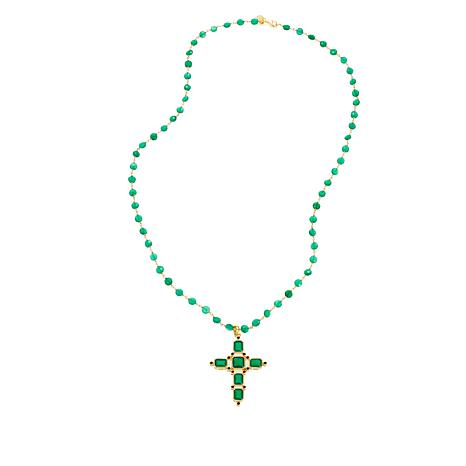 "Rarities Green Onyx & Black Spinel 28"" Rosary Necklace"