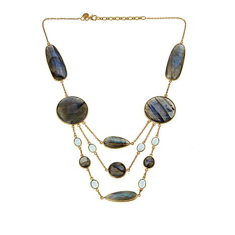 "Rarities Labradorite and Blue Topaz 18"" Draped Necklace"
