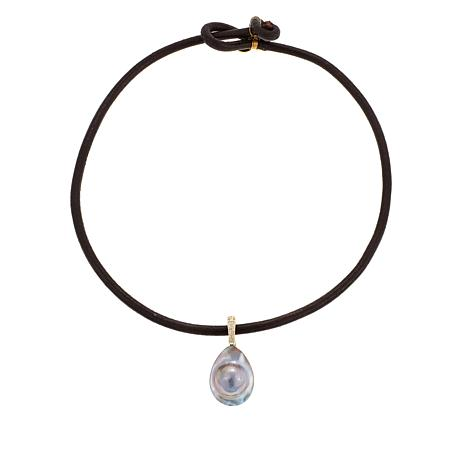 """Rarities Mabe Pearl and White Zircon Pendant with 18"""" Leather Cord"""