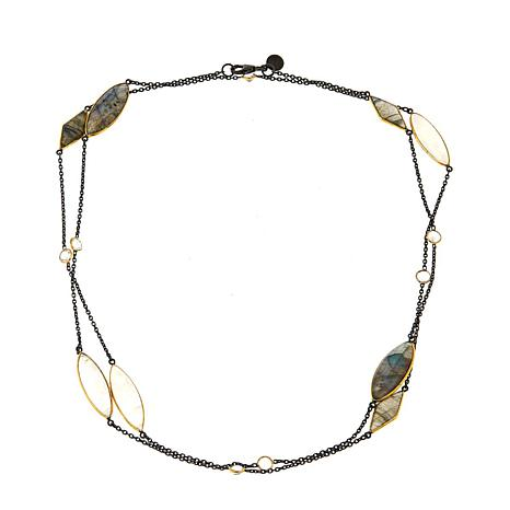 "Rarities Moonstone, Labradorite and White Topaz 40-1/4"" Necklace"