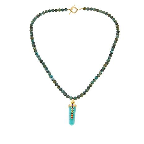 "Rarities Multigem Pendant & Beaded 30"" Toggle Necklace"