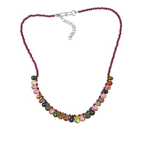 "Rarities Rarities Garnet Bead and Multicolored Tourmaline 18"" Necklace"