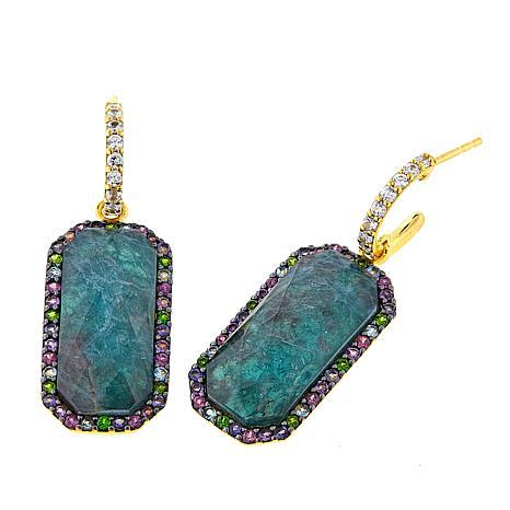 Rarities Rock Quartz/Apatite Doublet and Gem Octagonal Drop Earrings