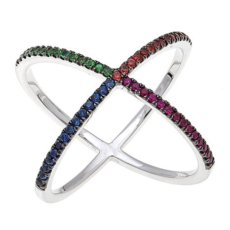 "Rarities Sapphire and Tsavorite ""X"" Design Ring"