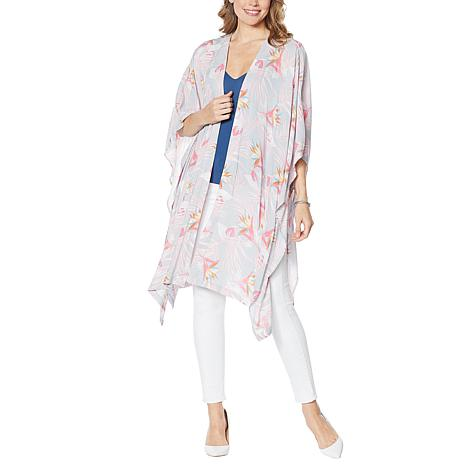 Rhonda Shear Printed Kimono with Side Ties