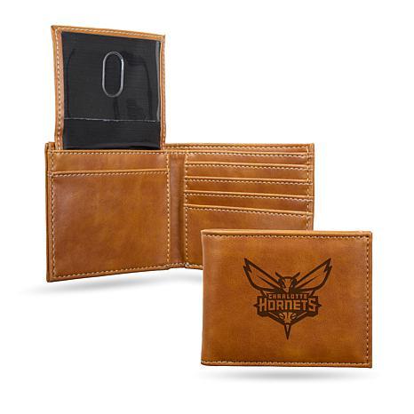 Rico NBA Laser-Engraved Brown Billfold Wallet - Hornets