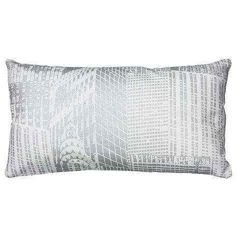 "Rizzy Home 11"" x 21"" White Metallic Accent Pillow"