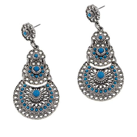"""R.J. Graziano """"Best West"""" Simulated Turquoise Drop Earrings"""