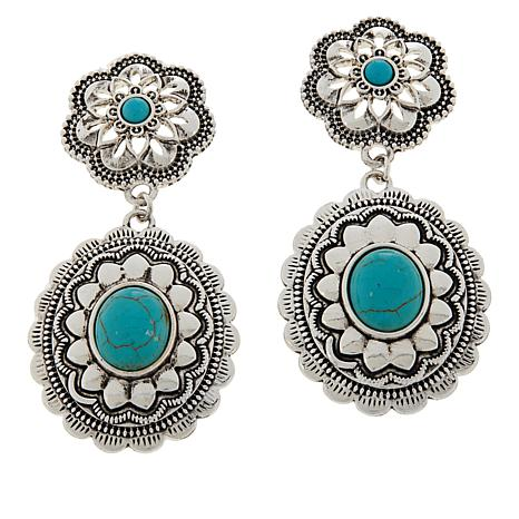 R.J. Graziano Simulated Turquoise Drop Western Earrings