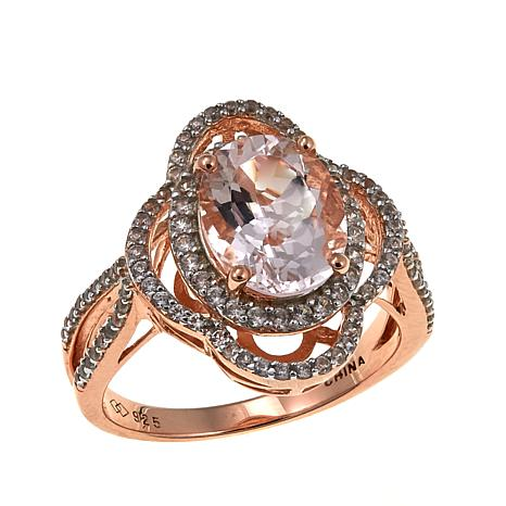 Rose Gold-Plated 2.75ctw Oval Morganite and White Zircon Ring