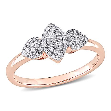Rosetone Sterling Silver 0.20ctw Diamond Triple Pavé Station Ring