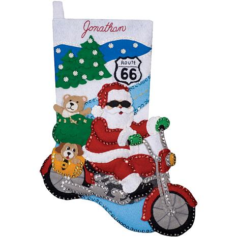"Route 66 16"" Stocking Felt Applique Kit"