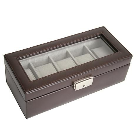 Royce® 5-Slot Locking Leather Watch Box
