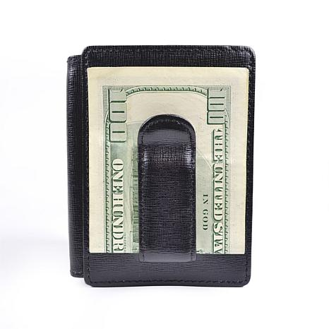 Royce black saffiano leather money clip and id window for 2 id window wallet