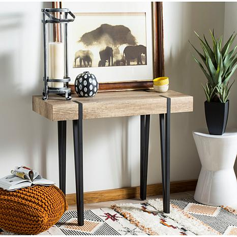 Mid-Century Rustic Rectangular Wood-Top Console Table. How to decorate or style your entry way.
