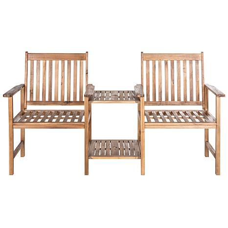 Safavieh Brea Twin-Seat Bench - Teak Brown Finish