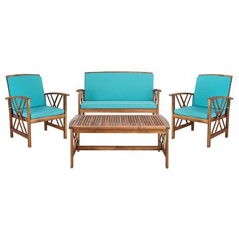 Safavieh Fontana 4-piece Outdoor Living Set - 8008172 | HSN on Safavieh Fontana Patio Set id=39091
