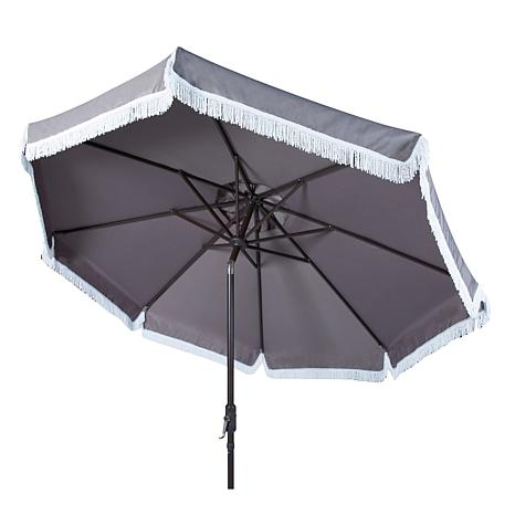 Safavieh Milan Fringe 9u0027 Crank Outdoor Umbrella   8385372 | HSN