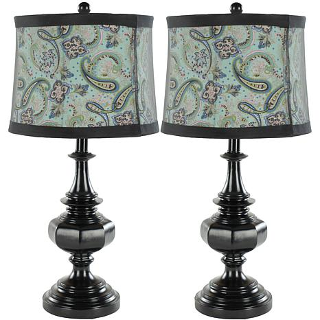 set of 2 table lamps with soft black paisley shade. Black Bedroom Furniture Sets. Home Design Ideas