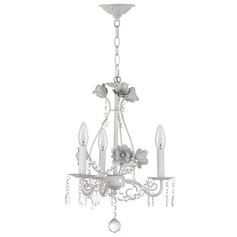 "Safavieh Tempest Floral 3 Light White 15"" Adjustable Chandelier"