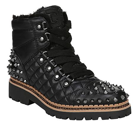 dc849c4231a95b Sam Edelman Bren Studded Leather and Quilted Fabric Lace-Up Boot - 8859869