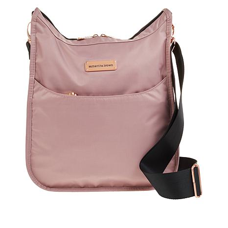 Samantha Brown Nylon Crossbody Bag with RFID Protected Pocket
