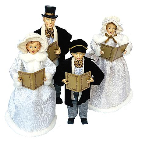 """Santa's Workshop 15""""-18""""  Carolers Figurines - Black and White Clothes"""