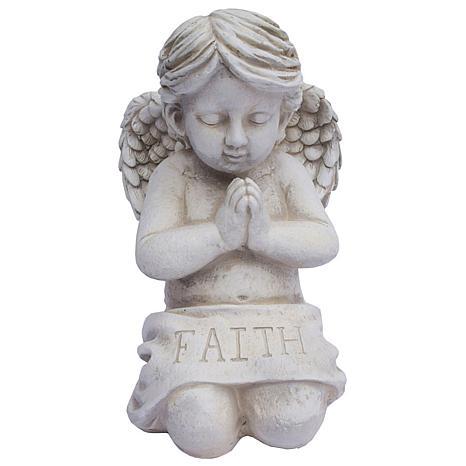 "Santa's Workshop ""Faith"" Kneeling Angel Statue - Antique White"