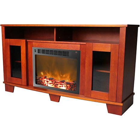 Shop Savona Fireplace Mantel with Electronic Fireplace Insert - Cherry 8241465