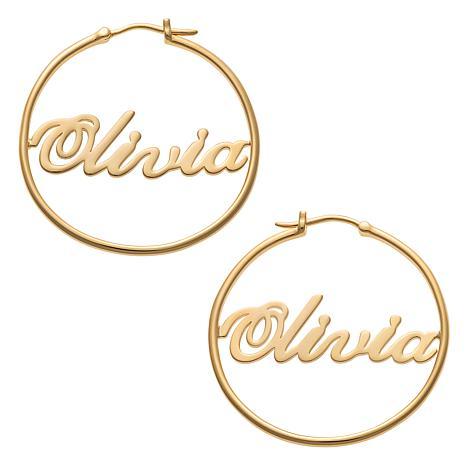Script Name Medium 35mm Hoop Earrings