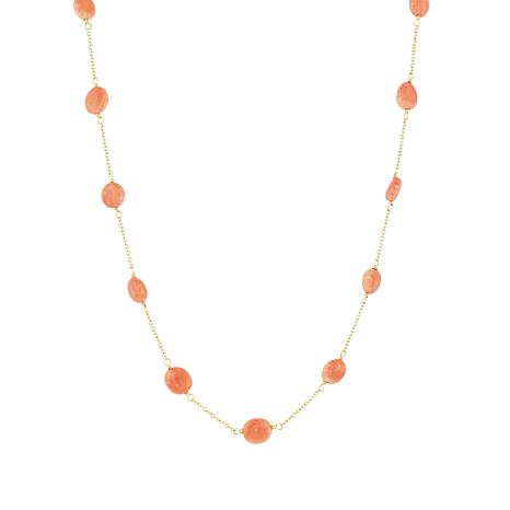 Séchic 14K Yellow Gold Angel Skin Coral Bead Station Necklace