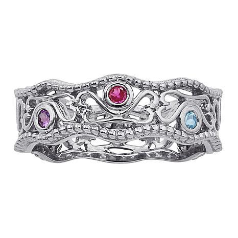 Secret Garden Family Birthstone Crystal Filigree Ring