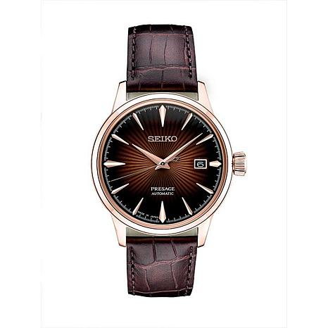 Seiko Men's Presage Brown Dial Brown Leather Automatic Watch