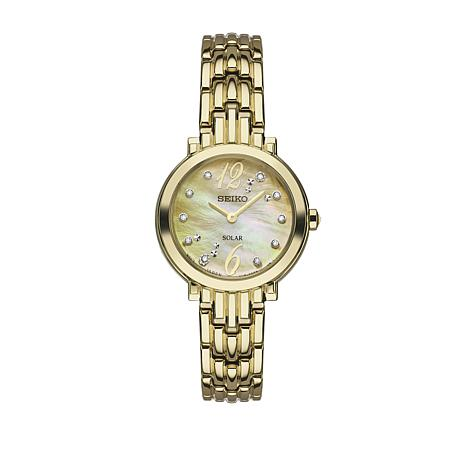 Seiko Women's Goldtone Mother-of-Pearl Dial Diamond-Accented Watch